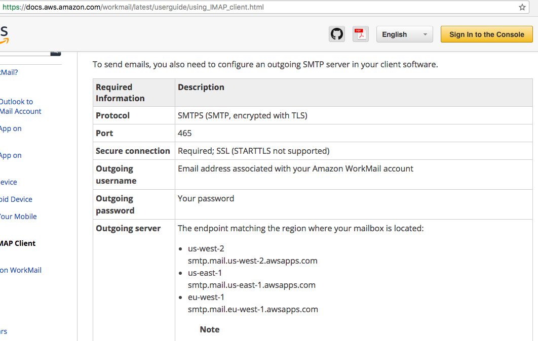 Mail: Amazon WorkMail — Documentation for the AWS Hosting users