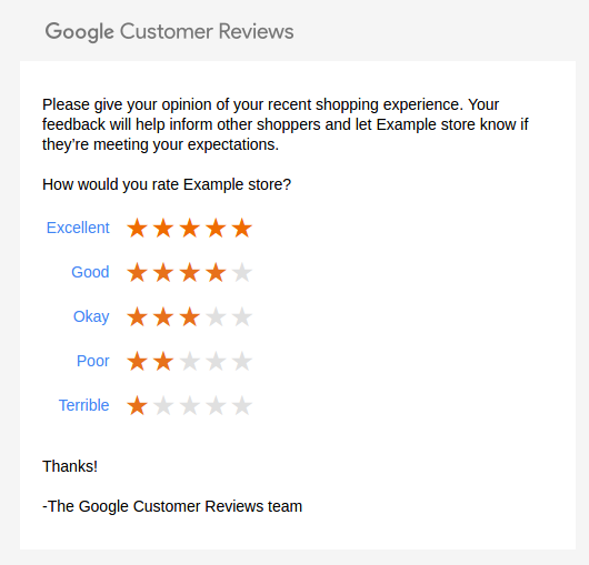 Google Customer Reviews — Addons documentation