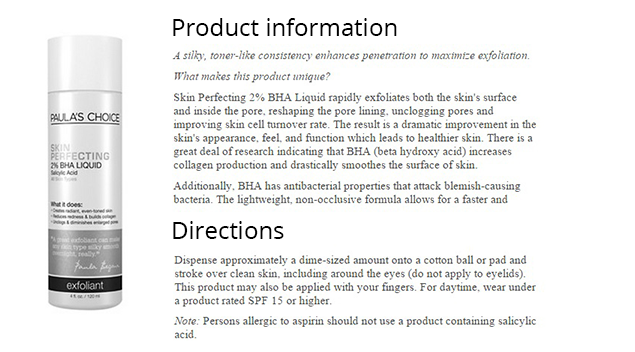 Information about the product