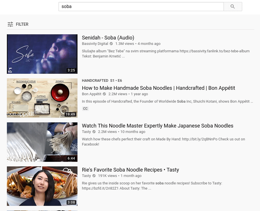 YouTube keywords for soba