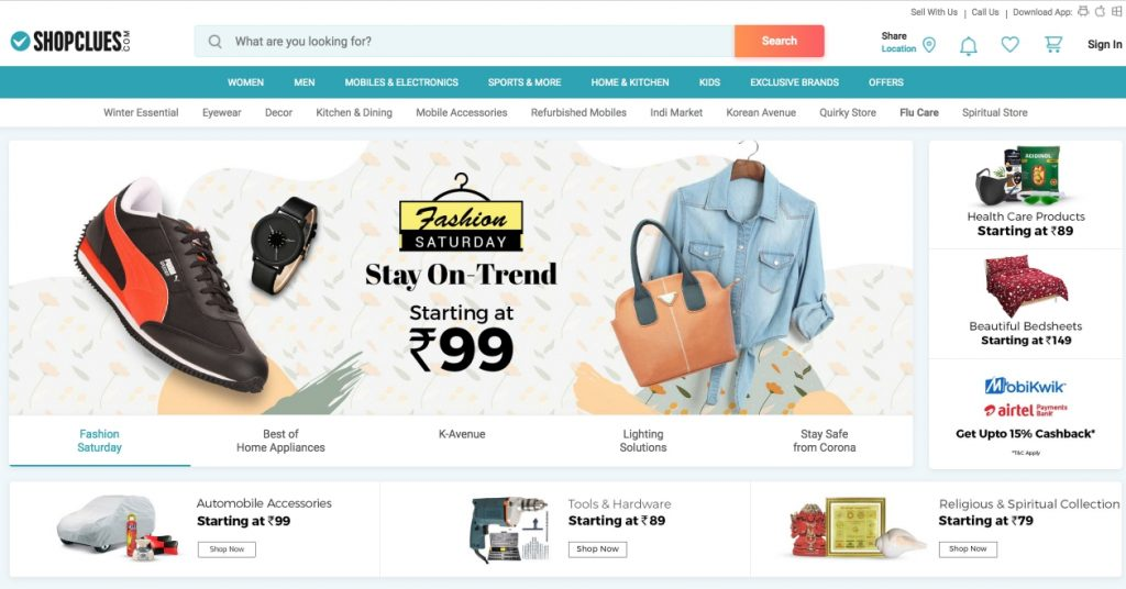 shopclues.com, a CS-Cart built eCommerce website