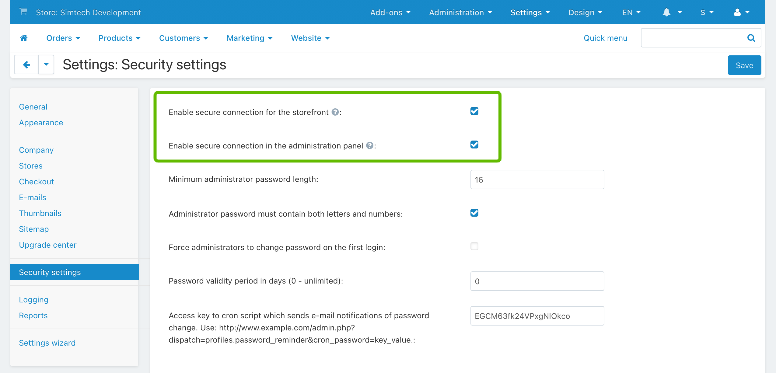 Enable secure connection for the storefront and the administration panel in CS-Cart and Multi-Vendor