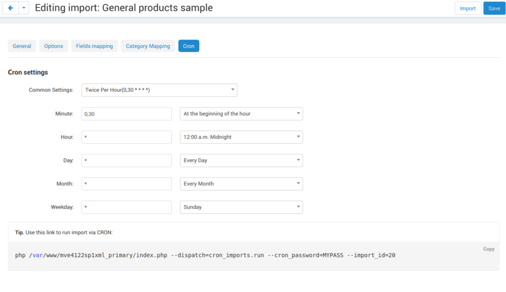 Importing products by cron
