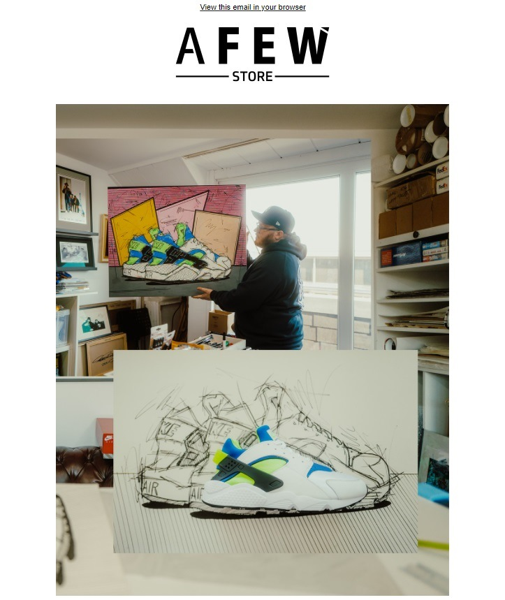 For example, sneaker company AFEW STORE demonstrates the process of creating a mockup of a new model.