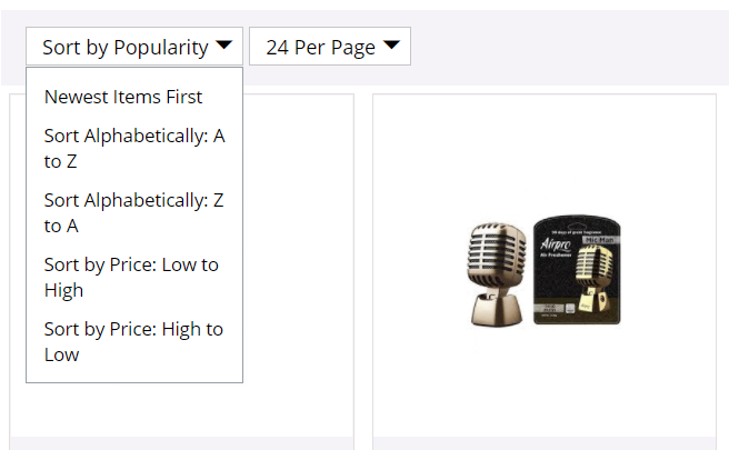 Sorting feature on eCommerce site