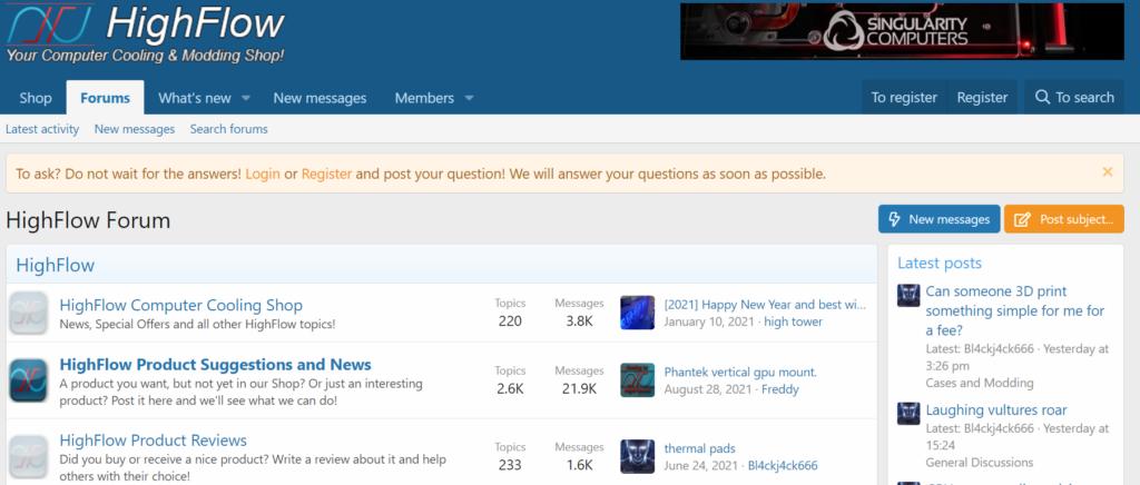 Our client, highflow.nl: Forum